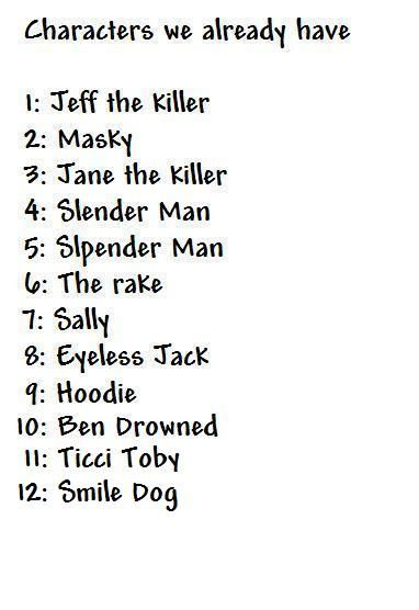 creepypasta characters names list - Google Search                                                                                                                                                                                 More
