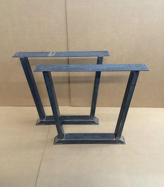 Trapezoid Dining Table Legs Set of 2 Heavy Duty Steel Legs