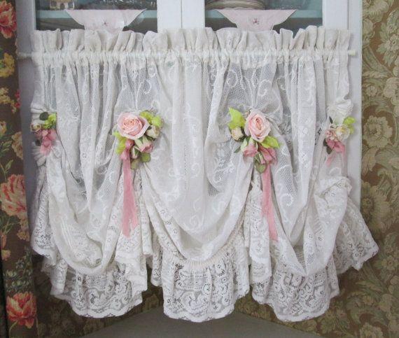 Shabby chic ruffled lace valance swag curtain