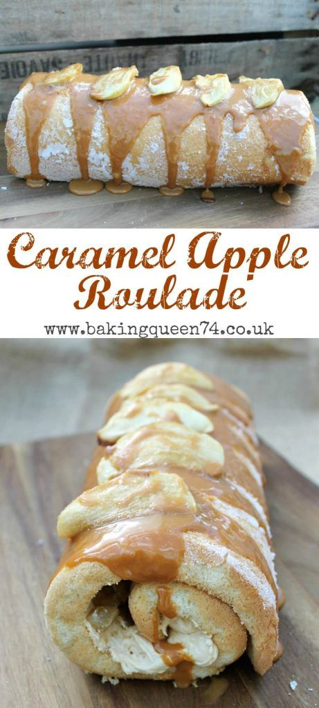 Caramel Apple Roulade recipe - perfectly autumnal and full of delicious caramel buttercream and apple