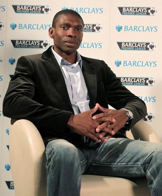 Norwich City legend Efan Ekoku during the 2011-12 Barclays Premier League fixture announcement