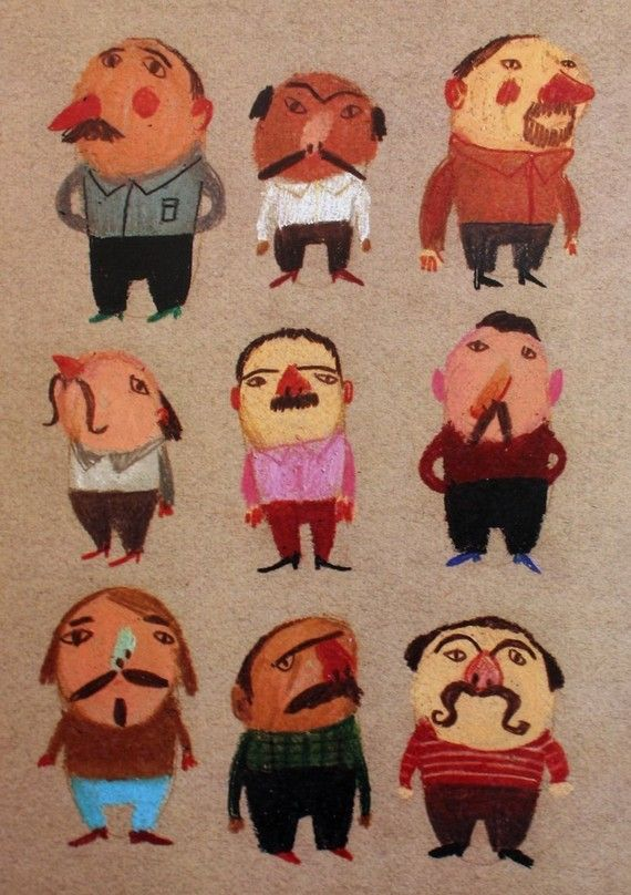 Mustache man / Print of an original drawing / Pattern / by Tosya, $15.00
