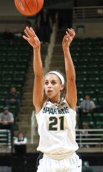 The Michigan State women's basketball jumped out to a big lead early and never trailed, winning at NC State 68-51 on Thursday at Reynolds Coliseum as part of the 2012 ACC/Big Ten Challenge. Junior Klarissa Bell scored a career-high 21 points to lead the #Spartans to their fourth 6-0 start in program history.