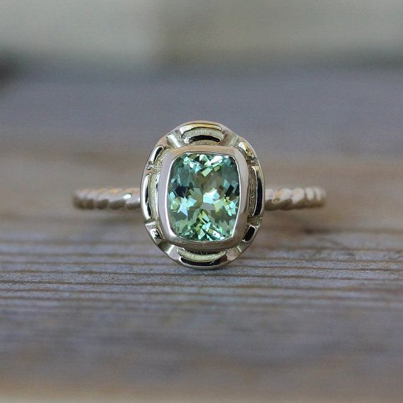 not a diamond but really gorgeous!  14k Gold and Green Tourmaline Gemstone Ring by onegarnetgirl, $1098.00