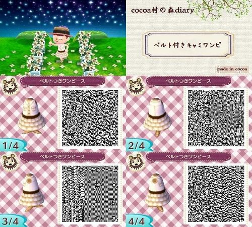Animal Crossing New Leaf QR code - classic dress with brown belt and ruffles