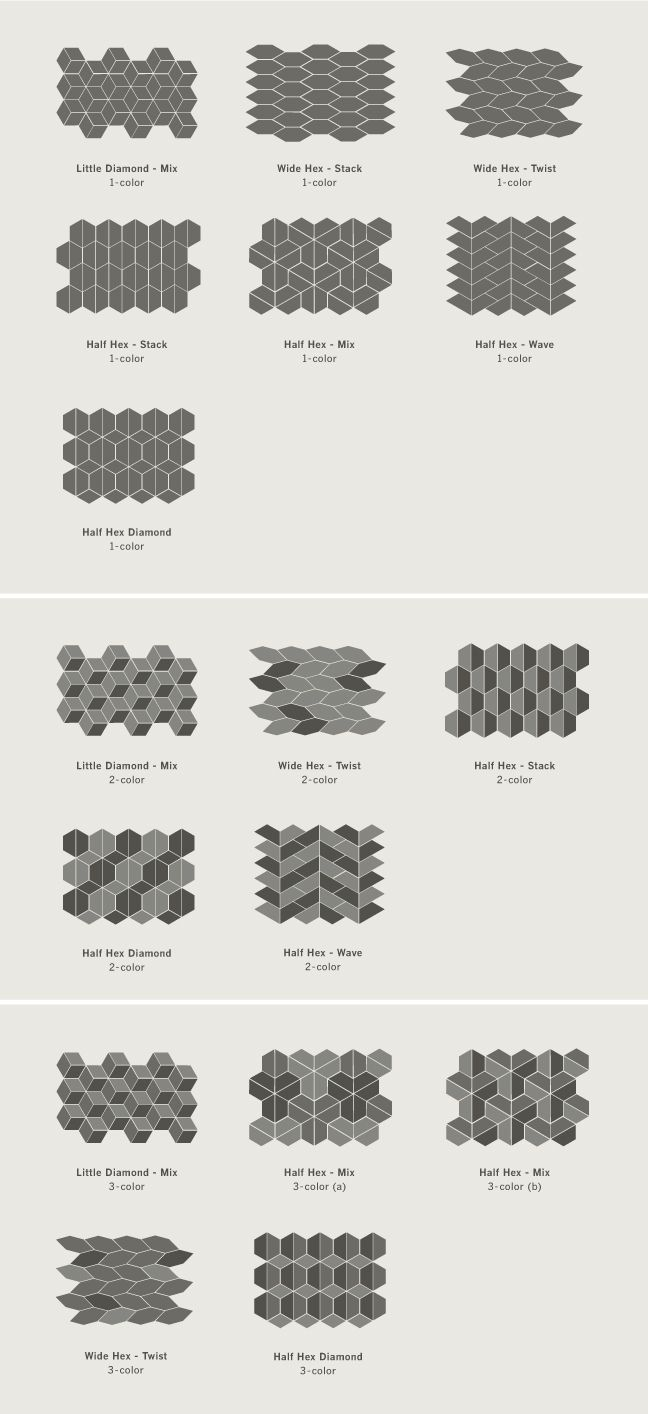 Kitchen tile pattern. Little Diamond tile from the Dwell Patterns collection by Heath Ceramics