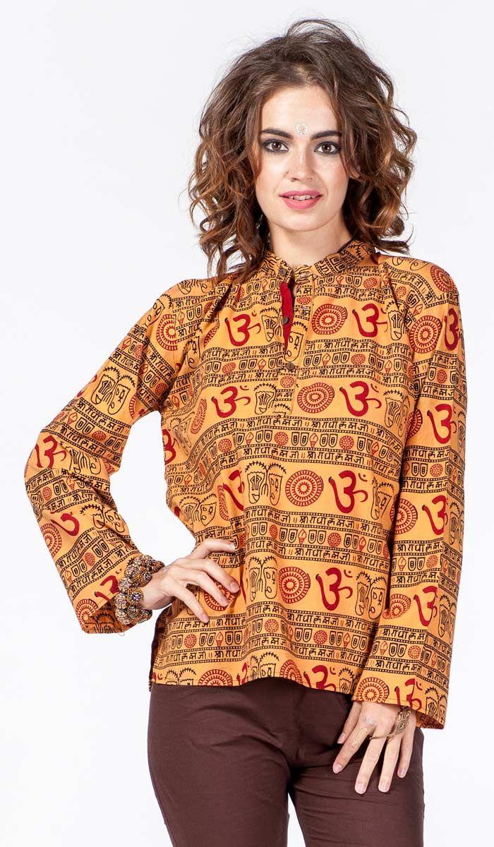Женская этническая рубашка, стиль бохо, хиппи стиль, рубашка в этническом стиле, индийская одежда, принт Ом, ethnic shirt, Om print, indian clothes, hippie style, boho style. 1240 рублей
