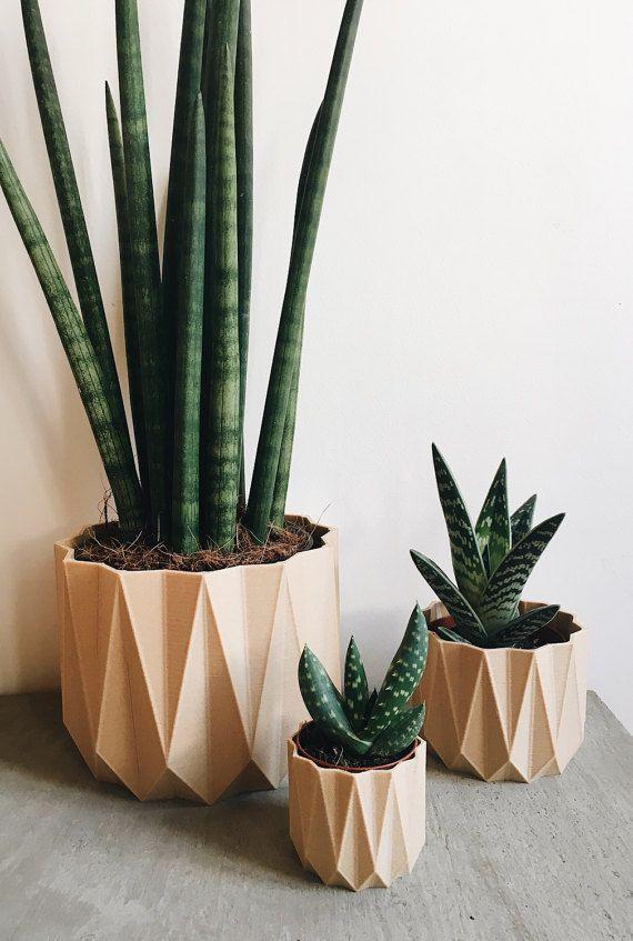 geometric planted printed in 3D in Wood