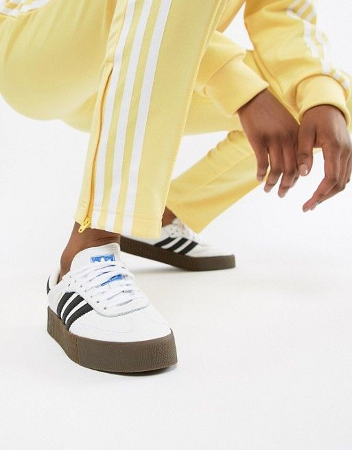 new style 47715 56f74 adidas Originals   adidas Originals Samba Rose Trainers In White With Dark  Gum Sole
