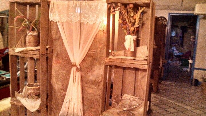 Apple crate back drops burlap and lace