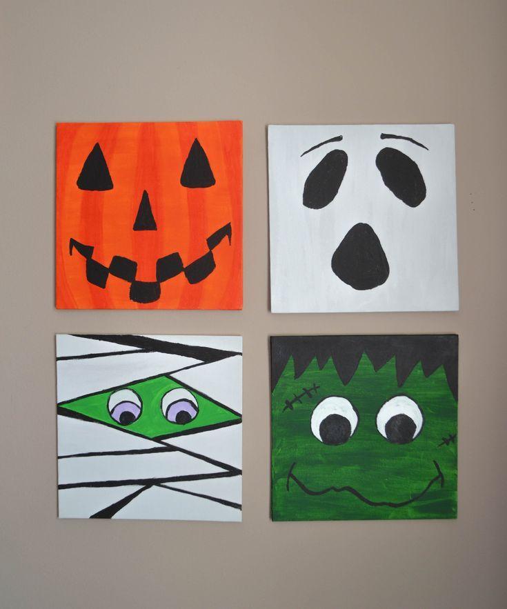 Cute Halloween Canvas Set Halloween Wall Art Halloween Canvas