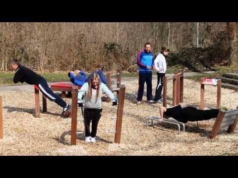 KUCK FITNESS - Outdoor Fitness Parcours - auf der FSB 2013 in Köln - YouTube