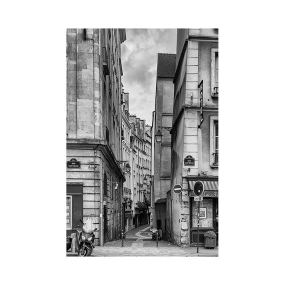 Paris Streets Print, Black and White Wall Art, European City Photography, Paris Architecture Photo, Contemporary Modern Picture, Hallway Art