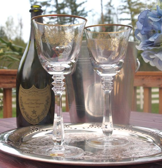 Vintage Crystal Wine Glasses Goblets pair Spiegelau Crystal West Germany  by HouseofLucien