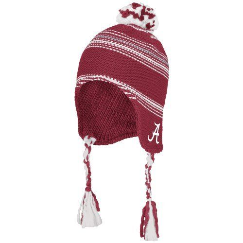NCAA Alabama Crimson Tide Tassel Knit Hat, One Size Fits All,Red/White
