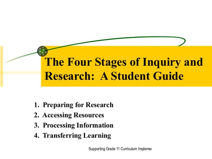 The Four Stages of Inquiry and Research:  A Student Guide 1.  Preparing for Research 2.  Accessing Resources 3.  Processing Information 4.  Transferring Learni…