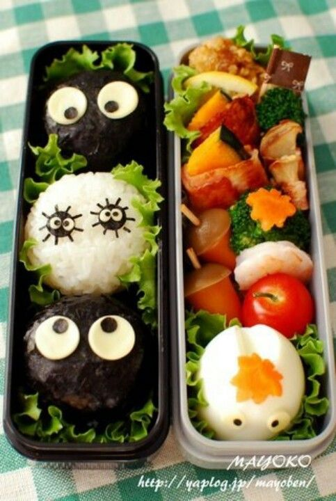 Look at those cute black spooky rice balls. :D