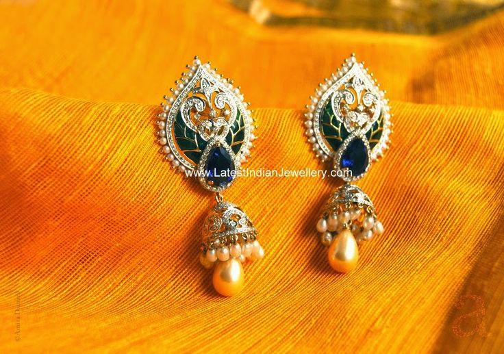fancy designer diamond jhumkis