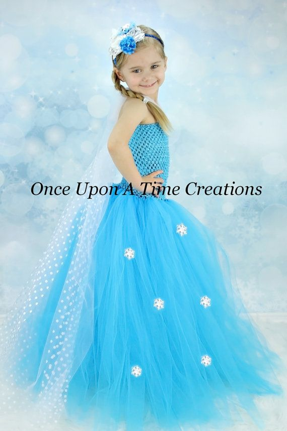 Elsa Inspired Frozen Princess Tutu Dress w/ Polka Dot Sheer Tulle Cape - Halloween Costume - 12M 2T 3T 4T 5T 6 7 8 10 12 - Disney Inspired