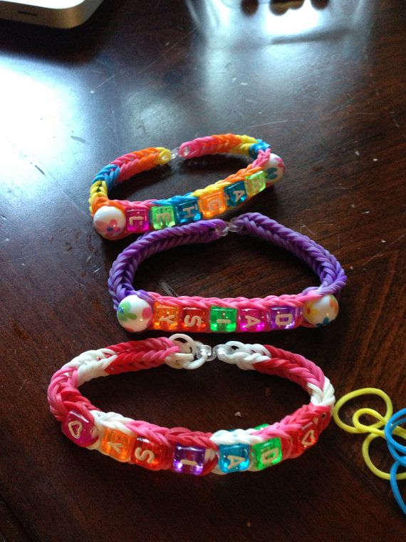 Rainbow loom name and bead bracelet  by DawnsPartyDesigns on Etsy, $3.50