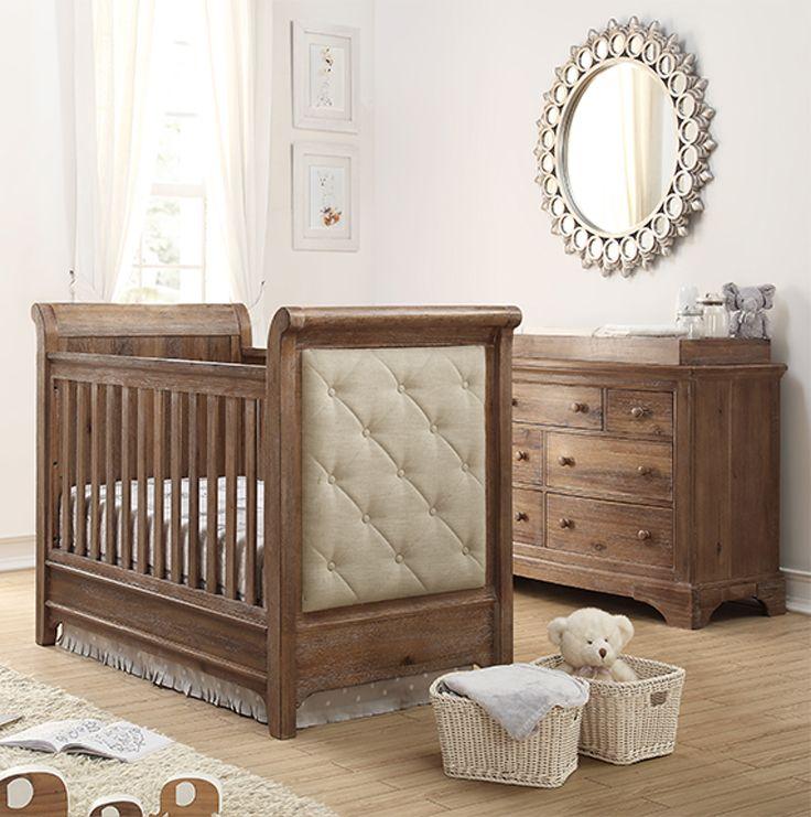 Bertini Pembrooke Upholstered Convertible Crib With Toddler Rail Natural Rustic