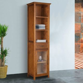 Chamberlain Oak Finish Linen Tower Storage Cabinet By Elegant Home Fashions
