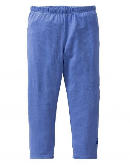 Deze blauwe legging van zacht stretchkatoen is goed te combineren met rokjes en jurkjes uit de Oilily's zomercollectie.