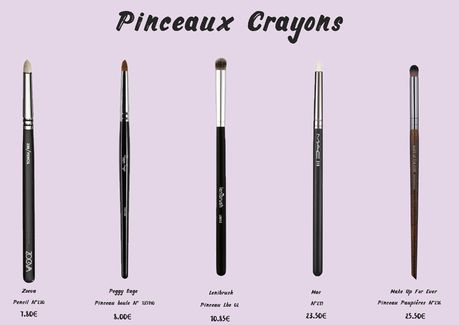 Pinceaux Crayon : Zoeva Pencil°230, Peggy Sage Pinceau boule n° 135140, Lenibrush lbe02, Mac n° 219, Make Up For Ever Pinceau paupièere n° 216