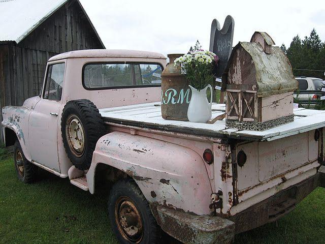 Pretty vintage pink truck