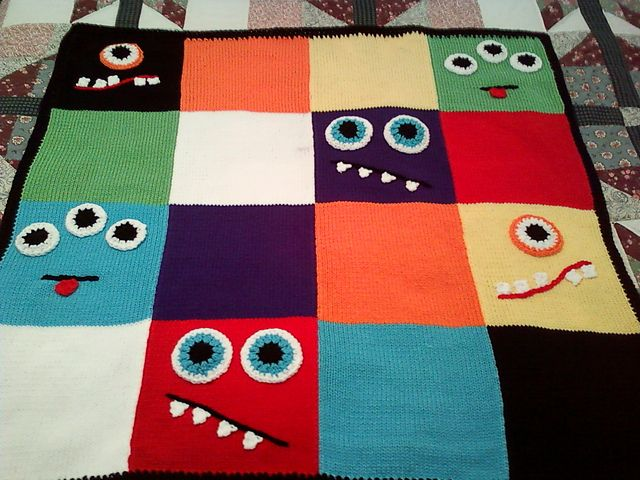 Monster Match Blanket - INSPIRATION - this is knitting with crochet accents but entire pattern could easily be duplicated in crochet