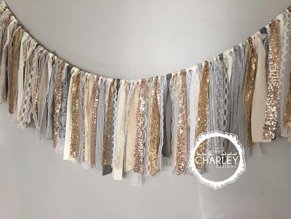 Gold, Silver, Pewter, Champagne & Rose Gold sequin garland banner with Grey, White, Ivory, Cream  Fabric -Sparkle - Precious Metals -Valance