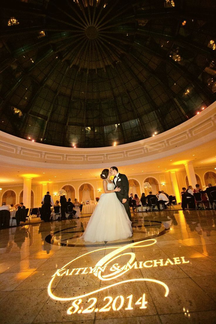 love this setup with a gobo monogram at this uplighting wedding
