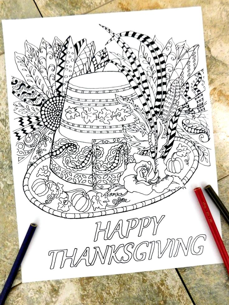 Thanksgiving Hat Coloring Page