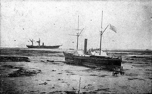 Al centro el Wateree, atrás el América y levemente se alcanza a ver parte del Chañarcillo, 1868