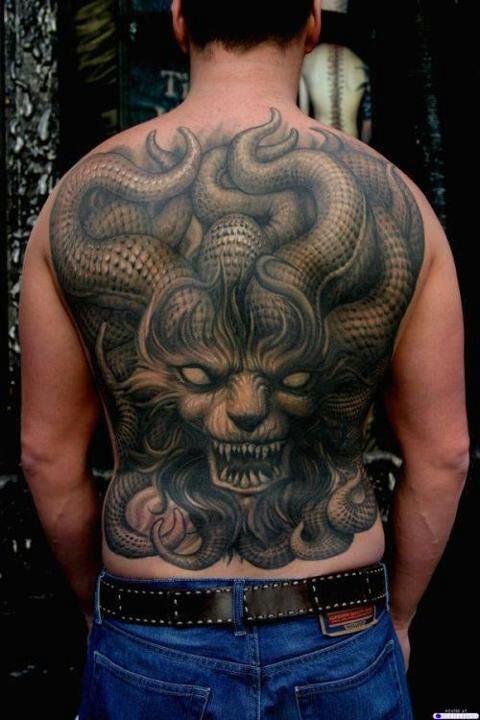 Tatto Crazy Art Ideas: Crazy Scary Full Back Tattoo