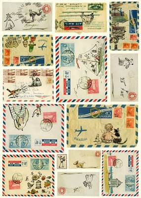 [via inspirationscrap] Pretty, embellished airmail envelopes make anyone smile.