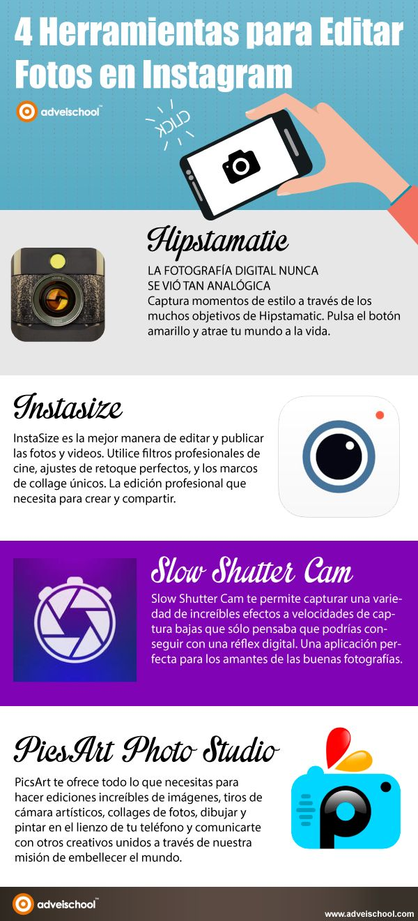 4 herramientas para editar fotografías para Instagram #infografia #socialmedia