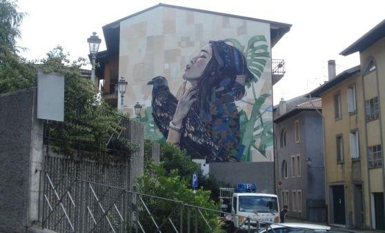 """Gemona: il graffito, opera dell'associazione """"Bravi Ragazzi"""", compare sul muro di una casa in via Patriarca. Dipinta una donna che alza lo sguardo e un grande uccello, simbolo della fenice, che rinasce dalle ceneri"""
