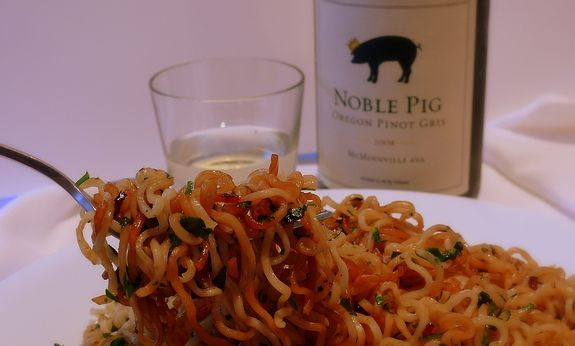 Noble pig's cilantro noodles! I'll add some chicken and veggies.