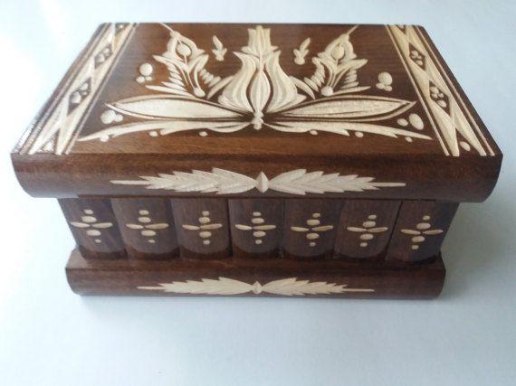 Nuevo material premium marrón hermosa grandes, caja de rompecabezas de madera hecho a mano, caja de secretos, caja mágica, caja de joyería, enigma, caja de almacenaje, caja de la flor