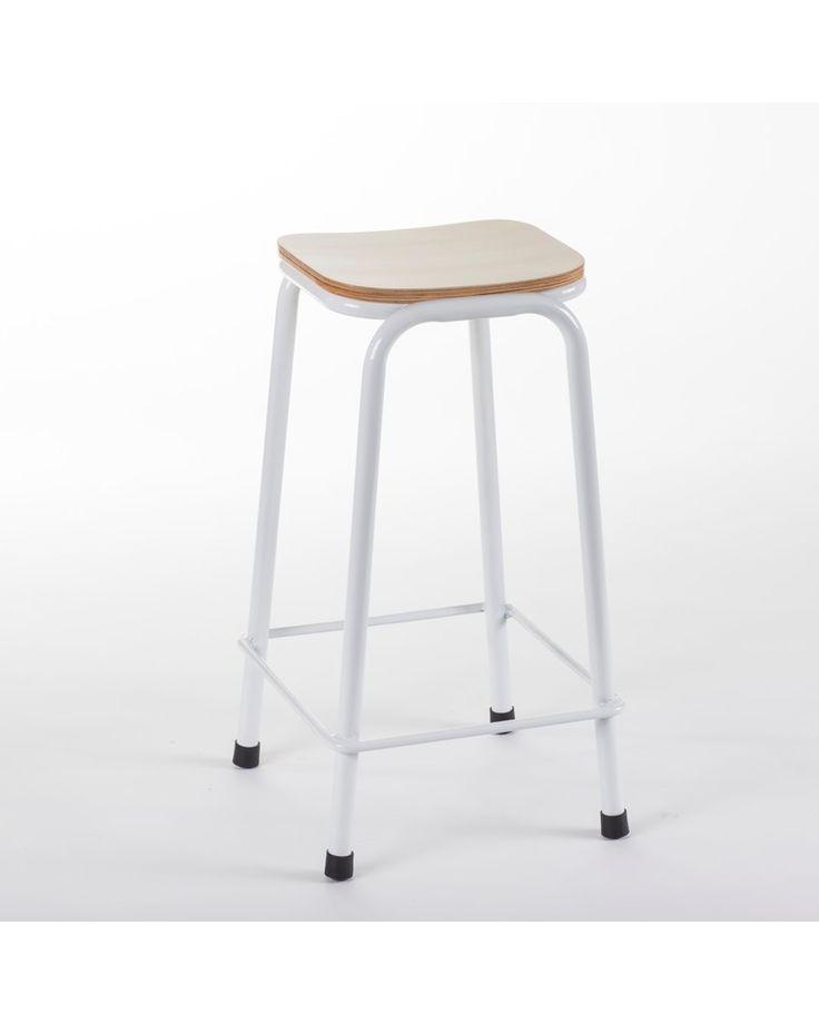 School bar stool - white 75cm