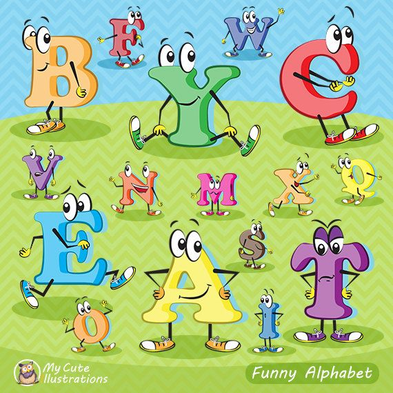 Character alphabet clipart, alphabet clip art, Scrapbook supplies PNG, Party printables, comercial use