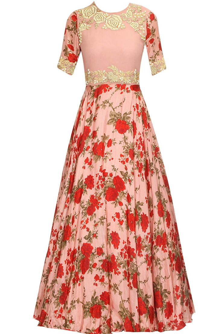 Blush pink and red floral rose embroidered anarkali suit available only at Pernia's Pop Up Shop.
