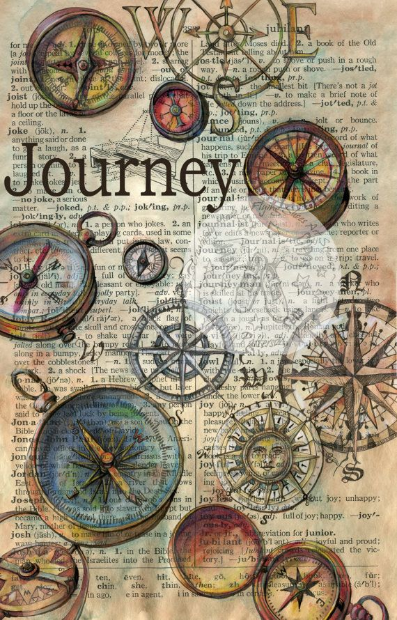 PRINT Journey drawing on Distressed Parchment by flyingshoes, $35.00