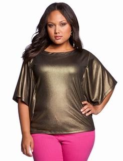 Metallic Batwing Top @ Eloquii.com plus size fashion