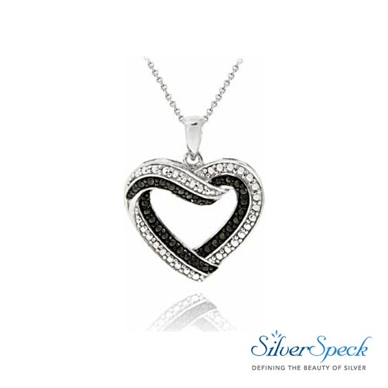 """Only $10.39  Black Diamond Accent Open Heart Necklace This beautiful necklace displays an open heart; symbolizing everlasting love and devotion. The heart features black and white pave dotted detailing; simulating shimmering black and white stones. One genuine black diamond is nestled in the design. The pendant dangles from an 18"""" rolo chain, and is secured by a spring ring clasp. Total diamond weight: .01ct. #Heart #HeartNecklace #BlackDiamonds"""
