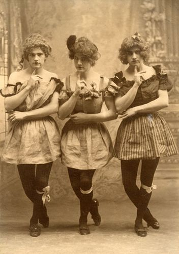 Moulin Rouge Drag Queens,  3 Yale students in drag, c. 1883.