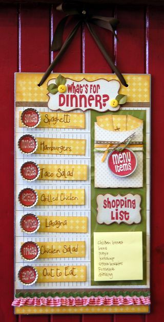 "I need to do this! I've been posting my menu so all 7 kids don't ask ""What's for dinner?"" This is way cuter than writing it on the chalkboard - and you have a stash of all your meals to help the menu planning process."