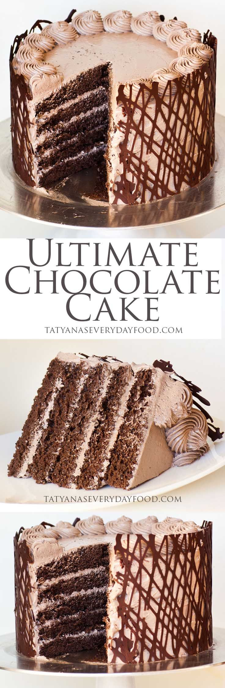 Ultimate Chocolate Cake Recipe, rich cake, light frosting, You will fall head over heels for this restaurant recipe cake. Enjoy RUSHWORLD boards, FANCY DESSERT RECIPES, WEDDING CAKES WE DO and UNPREDICTABLE WOMEN HAUTE COUTURE. Follow RUSHWORLD on Pinterest! New content daily, always something you'll love!
