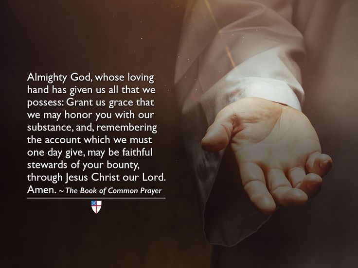 Almighty God, whose loving hand has given us all that we possess: Grant us grace that we may honor you with our substance, and, remembering the account which we must one day give, may be faithful stewards of your bounty, through Jesus Christ our Lord. Amen. ~ The Book of Common Prayer